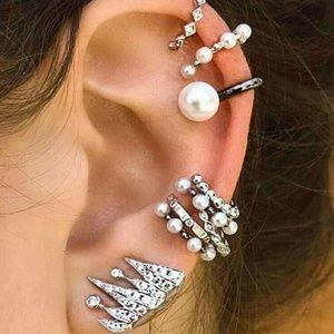 Bohemian pearl personality irregular earring set